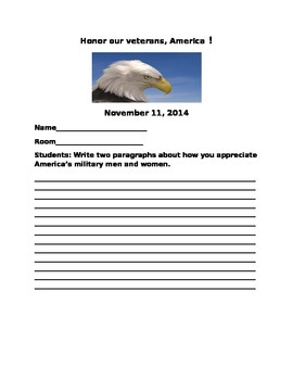HONOR OUR VETERANS WRITING ACTIVITY