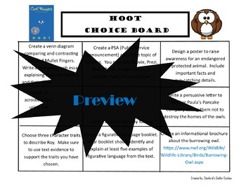 HOOT Choice Board Tic Tac Toe Novel Activities Assessment Book Project