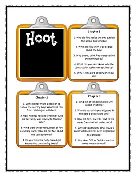 HOOT by Carl Hiassen - Discussion Cards