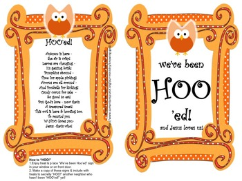 "HOO'ing - Christian option of the Boo or ""Boo'ing"" Game - Orange Swirls & Dots"