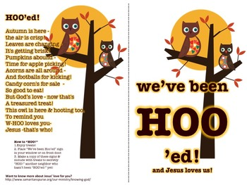 "HOO'ing - Christian option of the Boo or ""Boo'ing"" Game -"