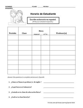 "SPANISH ""Student Class Schedule"""