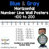 Horizontal Number Line Wall Posters | Integers -100 to 200 | Blue and Gray