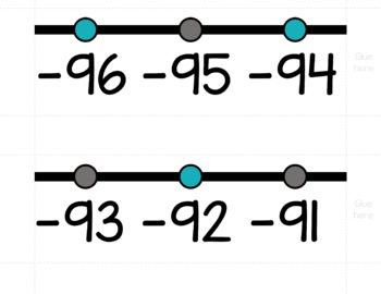 HORIZONTAL Number Line Posters - Turquoise and Gray (0-10 to 0-200)