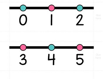HORIZONTAL Number Line Posters - Turquoise and Pink (0-10 to 0-200)