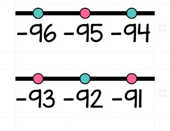 HORIZONTAL Number Line Wall Posters - Turquoise and Pink (0-10 to 0-200)