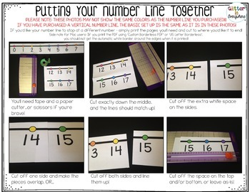 HORIZONTAL Number Line Wall Posters - B&W with Black Background (0-10 to 0-200)