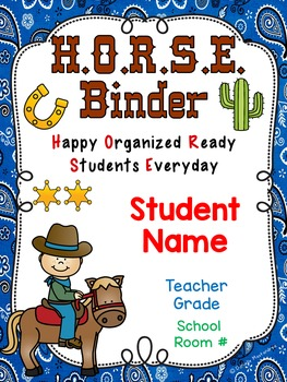 HORSE Binder Covers **EDITABLE**