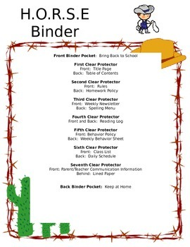 HORSE Binder/Folder for Student Organization for Microsoft Word