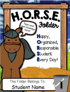 H.O.R.S.E. Folder Covers -- Western Themed Take Home Folders With EDITABLE Pages
