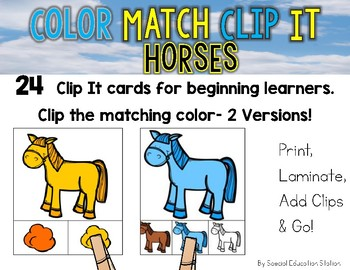 HORSES Color Match Clip It {A Beginning Work Task)