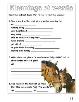HORSES AND WAR HORSES  A CROSS CURRICULAR LITERACY THEME