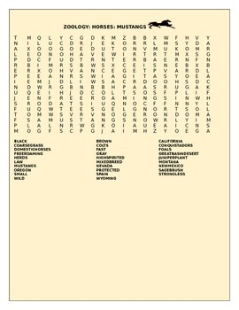 HORSES: MUSTANGS: WORD SEARCH GRADES 3-7
