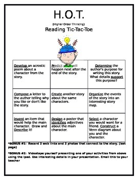 HOT Higher Order Thinking Tic Tac Toe