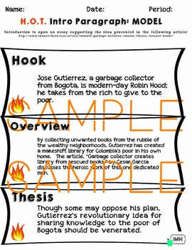 HOT Introduction Paragraph: Model and Graphic Organizer