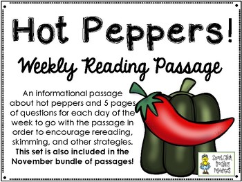HOT Peppers! - Weekly Reading Passage and Questions