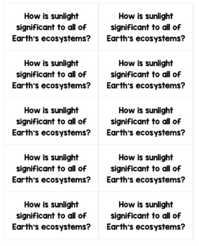 HOT Questions - Science Journal Prompts {Ecosystems ONLY}