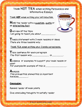 HOT TEA Method Writing Student Anchor Chart and Graphic Organizer