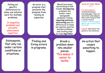 CODING- HOUR OF CODE matching game or definition SORT