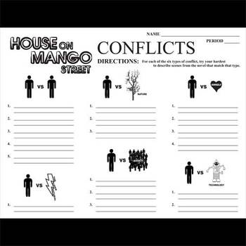 HOUSE ON MANGO STREET Conflict Graphic Organizer - 6 Types of Conflict