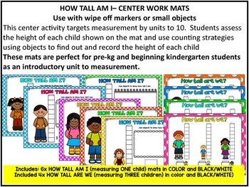 HOW TALL AM I? Math Measurement Centre for PRE-KG & KINDERGARTEN