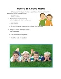 HOW TO BE A GOOD FRIEND for 2nd Grade