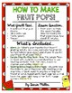 HOW TO MAKE FRUIT POPS! An Interactive Informative Writing/Graphing Activity!