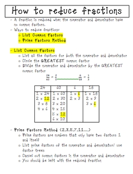 HOW TO REDUCE FRACTIONS NOTES