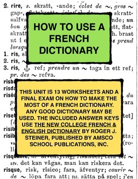 HOW TO USE A FRENCH DICTIONARY