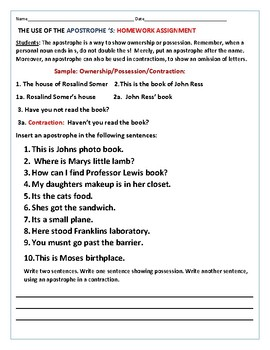 HOW TO USE AN APOSTROPHE S: A HOMEWORK ASSIGNMENT