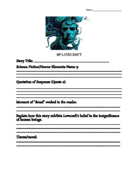HP Lovecraft Any Story Worksheet