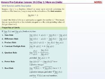 HPC: CU 10 & 11: 10.3 Day 1: Limits