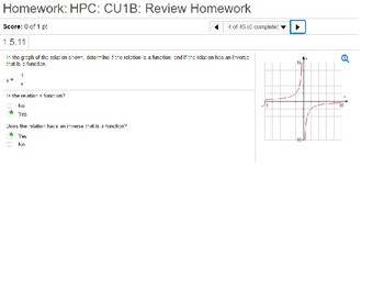 HPC: CU 1B: Review: Functions, Inverses and Modeling