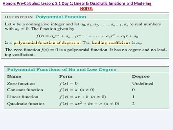 HPC: CU 2A: 2.1 Day 1: Linear and Quadratic Functions and Modeling