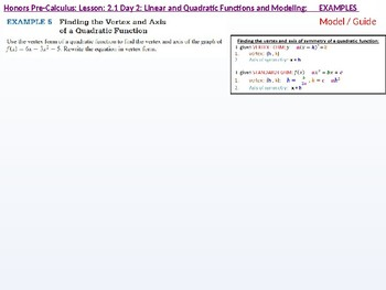 HPC: CU 2A: 2.1 Day 2: Linear and Quadratic functions and Modeling