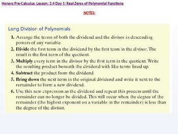 HPC: CU 2A: 2.4 Day 1: Real Zeros of Polynomial Functions