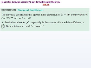 HPC: CU 2B: 9.2 Day 1: The Binomial Theorem