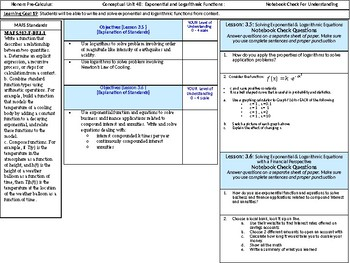 HPC: CU 4B: Exponential and Logarithmic functions: Standards, Objectives & LEQs