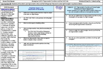 HPC: CU 5: Trigonometric Functions & the Unit Circle: Standards Objectives, LEQs
