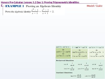 HPC: CU 7A: 5.2 Day 1: Proving Trigonometric Identities