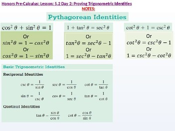 HPC: CU 7A: 5.2 Day 2: Proving Trigonometric Identities