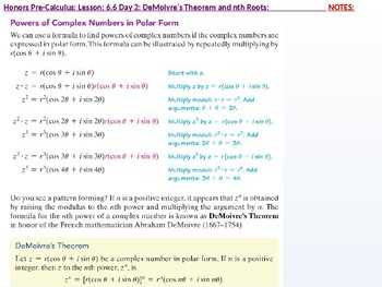 HPC: CU 9: 6.6 Day 2: DeMoivre's Theorem and nth Roots