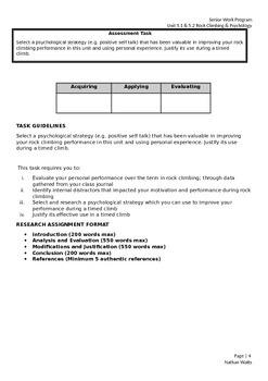 HPE Senior Unit Plan (Rockclimbing & Sports Psychology)