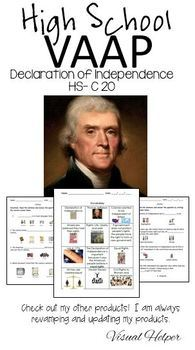 HS-C20 VAAP The Declaration of Independence Visual Helper Autism