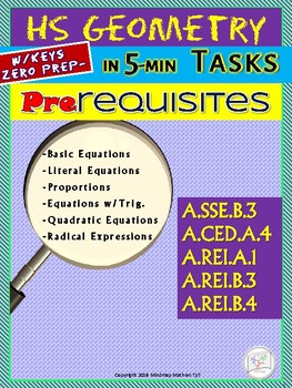 HS CC Geometry Prerequisite  Basic Skills Daily Assessments