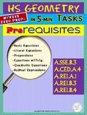 GEOMETRY Pre-Requisites  (Geometry Curriculum in 5 min tas