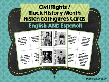 HS Civil Rights / Black History Month Historical Figures Cards ENGLISH & SPANISH