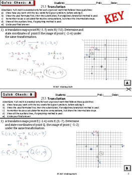 TRANSLATION  (HS Geometry Curriculum in 5 min tasks/warm-ups - Unit 21)
