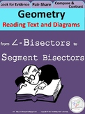 HS Geometry Practice: Reading Comprehension for Text and Diagrams: BISECTORS