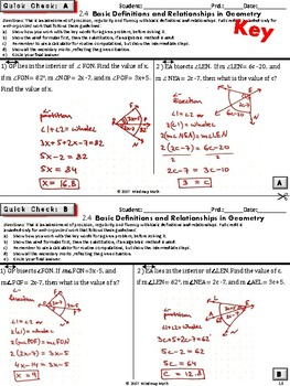 HS GEOMETRY Basics and FOUNDATIONS (Geometry Curriculum in 5 min tasks - Unit 2)